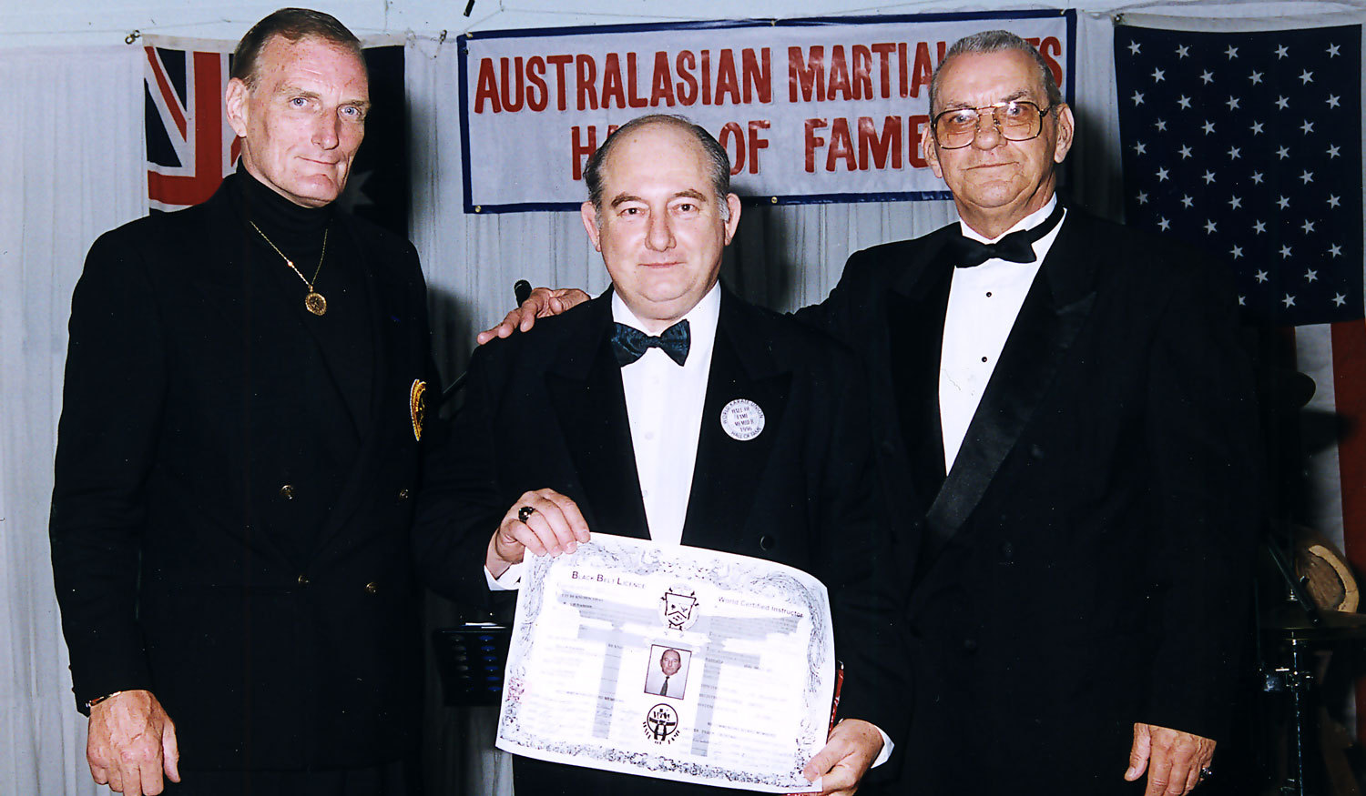 Kancho Bradshaw receives his 10th Dan from Grand Masters Harold Long and Gary Alexander