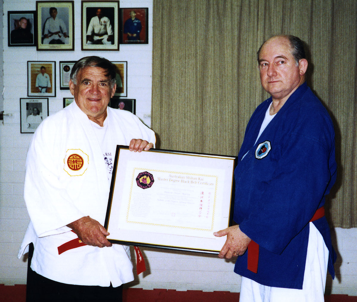 Kancho Bradshaw presents Hanshi Peter Morton with his 10th Dan